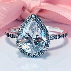 Authentic pandora teardrop Ring Size 8🦋💍🐌😂🎵👁